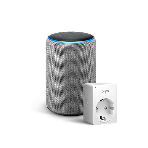 Amazon Echo (3ª generazione) - Tessuto grigio mélange +Tapo P100 Presa intelligente Wi-Fi, compatibile con Alexa