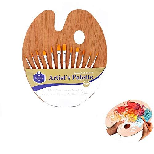 Heatigo Mischpalette Farben für Ölfarben Acrylfarben Aquarell, Vintage Künstler Holz Malerpalette mit Daumenloch für Kinder Erwachsene,Glatte und Leichte Ovale Holzpalette Malen,30x25cm