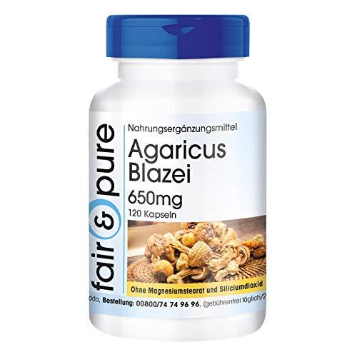 I-Agaricus Blazei 650mg - Amakhowe ahlanzekile (i-Agaricus Blazei Murill) - Amaphilisi we-120 - ngaphandle kwezithasiselo - imifino