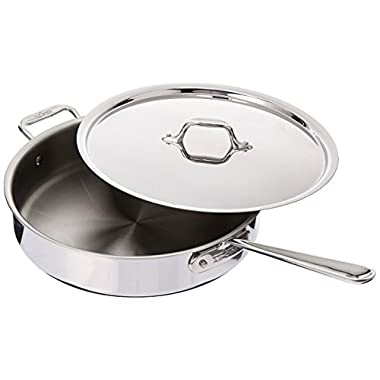 All-Clad 4405 Stainless Steel Tri-ply Saute Pan with Lid Cookware, 5-Quart, Silver