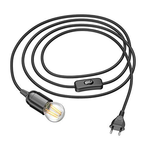 ledscom.de Cable textil LEHA con enchufe e interruptor negro 3m incl. mini lámpara LED 4W=39W 450lm blanco cálido