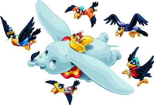 Autocollants muraux en vinyle pour chambre d'enfant Motif éléphant et dessin animé Disney 38,1 x 50,8 cm