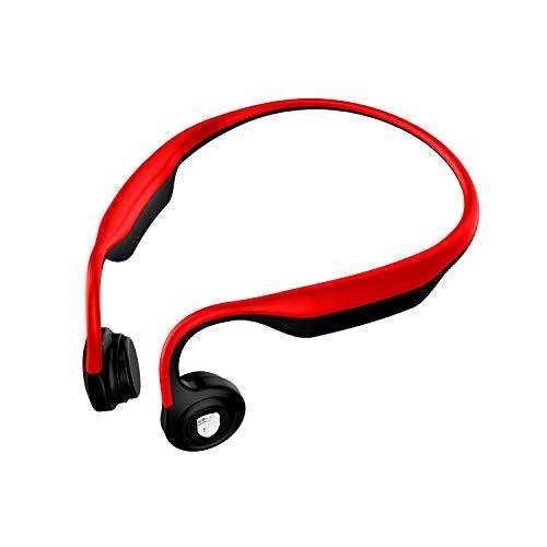 Spedal Wireless Bone-Conduction Kopfhörer, IP55 Wasserfest mit Mikrofon für Jogging, Radfahren geeignet. Kompatibel mit iPhone & Android. Rot.