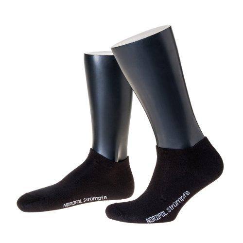 NORDPOL Sneaker-Socke für Herren, Baumwolle, 3 Paar, schwarz, Made in Germany, Gr. 43-46