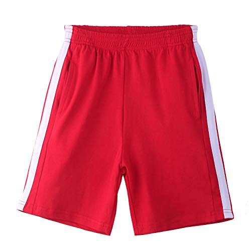 Arshiner Boy's Elastic Waist Shorts Outdoor Sports Shorts Red for 12 Years