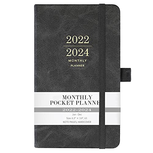 2022-2024 Monthly Pocket Planner - Monthly Pocket Planner/Calendar from Jan 2022 - Dec 2024 with Pen Holder, 36 Months, Inner Pocket and 63 Notes Pages, 3.8' x 6.3'