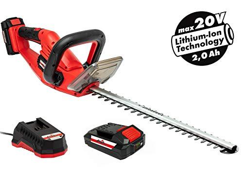 Grizzly Akku-Heckenschere mit 20 V, 2,0 Ah Lithium Ionen Akku und Schnellladegerät, Lasercut Messer mit 52 cm Schnittlänge, 15 mm Zahnabstand, Messerbremse, Rundum-Softgriff