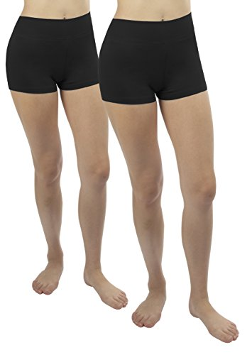 iLoveSIA 2X Short Damen Yoga Sport Shorty Schwarz Sport Hosen Strecken Laufen Shorts,S