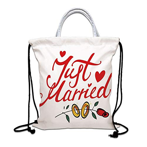 Wedding Decorations Drawstring Backpack Bag,Just Married Hand Writing in Red and Rose with Wedding Rings Lightweight Sports Gym Bag for Women Men Children,Red Fern Green White