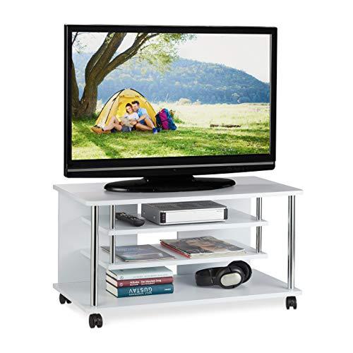 Relaxdays TV Board mit Rollen, zwei Ablagen für Geräte, platzsparendes Lowboard für Multimedia, HxBxT: 42x80x40 cm, weiß