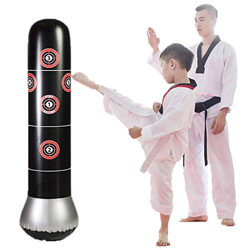 Fitness Inflatable Kids Punching Bag Stress Punch Tower Speed Bag Stand Power Boxing MMA Target Bag...