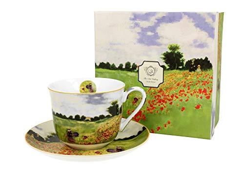 Duo Eine Jumbotasse und Untertasse Mohnblumenfeld Monet 450ml Riesentasse Unterteller große Kaffeetasse Mohnblumen Kaffee-Tasse Jumbo-Tasse Riesen-Tasse Unter-Tasse Art Porzellan Unter-Teller