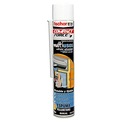 fischer – Espuma poliuretano PU Multiusos Manual (bote de 750 ml) en spray, trabajos de construcción y aislamientos, tubos de instalaciones de calefacción y sanitarias, endurecimiento rápido ✅