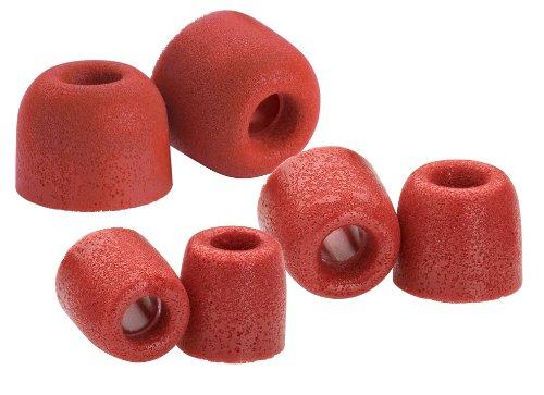 Comply T-200 Series - Almohadillas de espuma para auriculares (3 pares, tallas S/M/L), color rojo [importado de Reino Unido]