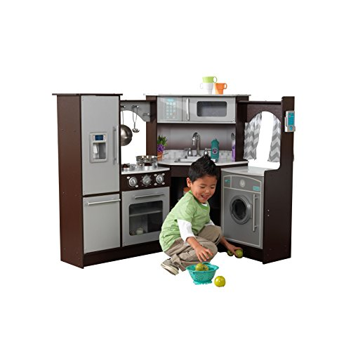 KidKraft Ultimate Corner Play Kitchen with Lights & Sounds, Espresso (53365)