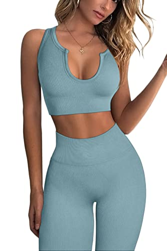 FAFOFA Women's Yoga Leggings 2 Piece Outfit Ribbed Seamless High Waisted Workout Yoga Bra Sets M Blue