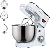 WantJoin Stand Mixer,Kneading Dough mixer with Timer,Digital display Professional Kitchen Electric Mixer 1000W With 5L barrel (white)