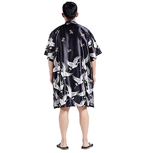 fregthf Capa de los Hombres Kimono japonés Antiguas Impreso Suelta Cardigan Largo Outwear Albornoz