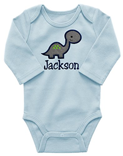 Personalized Embroidered Dinosaur Onesie Bodysuit for Baby Boys - Your Custom Name! (0-3 Months, Blue Long Sleeve)