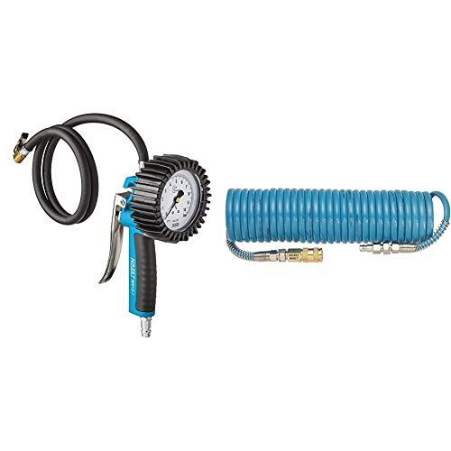 Hazet 9041G-1 Reifenfüll-Messgerät (geeicht, großes Manometer: 80 mm Durchmesser, Messbereich: 0 bis 10 bar) & Spiralschlauch (Länge 7,62 m, Innendurchmesser 6,35 mm, Arbeitsdruck 10 bar) 9040-7