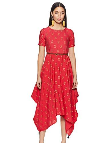 Indigo Rayon Bubble Hem Dress (AW20/IND-1471_Red_L)