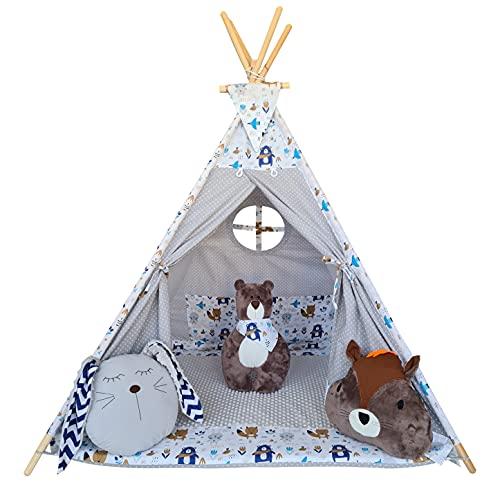 Izabell Tente de jeu tipi pour enfant - Pour l'intérieur et l'extérieur - Jouet indien - Avec fenêtre et accessoires - Motif ours