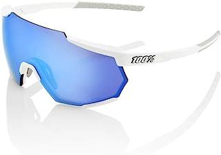 100 Percent - RACETRAP-Matte White-Hiper Blue Multilayer Mirror Lens Gafas, Hombres, Blanco Mate-Cristal Azul, Mediano