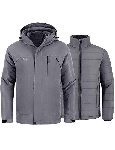 Wantdo Men's Windproof Snowboarding Jacket Winter Coat Waterproof Windbreaker for Skiing Grey L