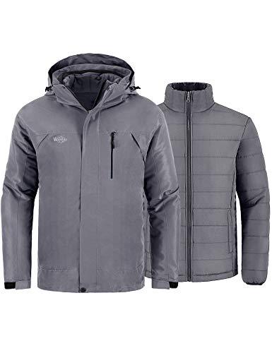 Wantdo Men's 3-in-1 Ski Jacket Removable Puffer Coat Mountaineering Snow Jacket Grey 2XL