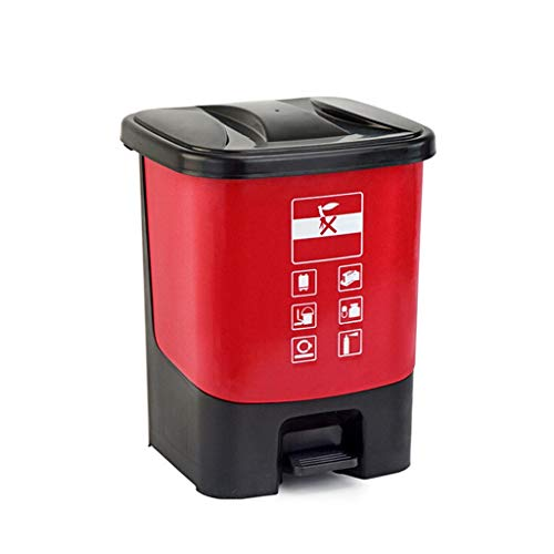 Papeleras Bote de Basura de plástico al Aire Libre Cocina en el hogar Tipo Pedestal   Parque Recipiente de Basura de Gran Capacidad, ecológico, Duradero Cubos de Basura de Cocina (Color : Red)