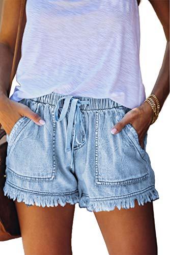 SESERAGI Women Middle Rise Elastic Waist Jeans Shorts 5In Casual Broken Edge Used Look Blue Frayed Hem Denim Drawstring Lightweight Short Blue Washed L