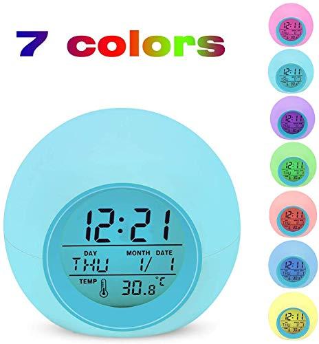 Digital Wecker, Lypumso LED Digitaler Reisewecker 7 Farben Nachtlicht Tischuhr Digitaluhr mit Datum, Temperatur, Snooze