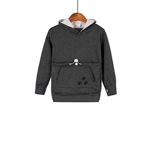 Boys Girls Hoodies,Pet Holder Cat Dog Large Pouch Carriers Pullover Long Sleeve Cat Ear Sweatshirt (Dark Grey, 160/(8Y-9Y))