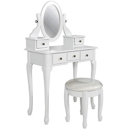 Melko Schminktisch mit Hocker Frisierkommode mit Spiegel 76 × 40 × 131 cm Frisiertisch Kosmetiktisch