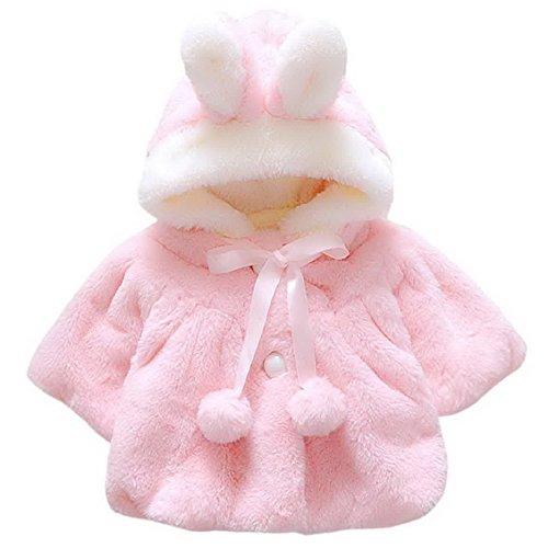 Baby Girls Fur Fleece Pageant Coat Winter Warm Jacket Hoodie Outerwear Xmas Snowsuit for 1-6 Months Pink