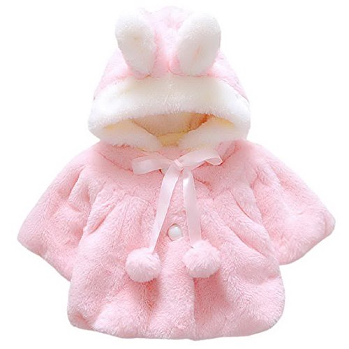 Baby Girl Kids Cute Winter Shawl Jacket Princess Fur Dress Coat Overcoat Button Closure Hoodie for 1-2 Years Old Pink