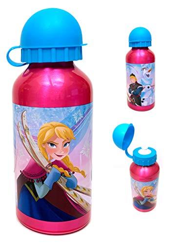 Dedimi Trinkflasche für Kinder Frozen 2 Aluminium Auslaufsicher Wasserflasche mit Sicherheitsauslauf und Kappe - Pink mit blauer Kappe - 400ml