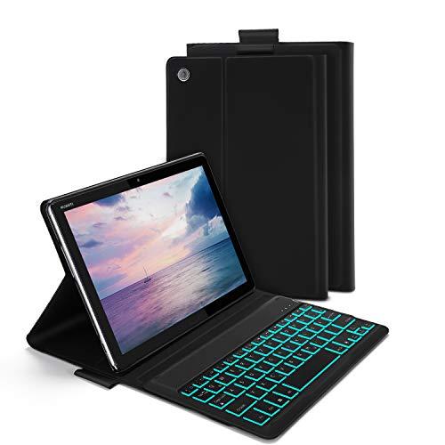 Jelly Comb Huawei MediaPad M5 Lite 10.1 Beleuchtete Tastatur Hülle, QWERTZ Bluetooth Tablet Tastatur mit Ultraslim Schützhülle für Huawei MediaPad M5 25,54cm (10,1 Zoll) mit 7-farbigen Beleuchtung