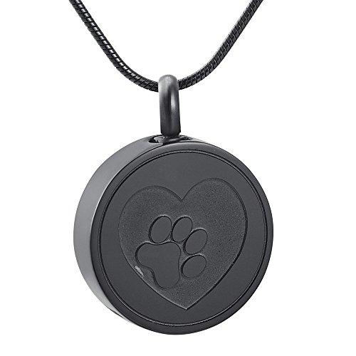 EternityMemory Pet Paw Print Heart Cremation Urn Locket Necklace Hold Dog/Cat Ashes Casket Keepsake Jewelry (Black)
