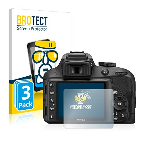 BROTECT Protector Pantalla Cristal Compatible con Nikon D3300 Protector Pantalla Vidrio (3...
