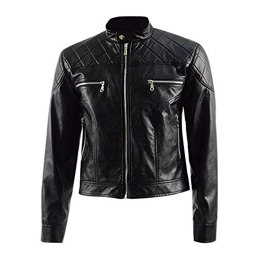 Chaqueta de piel acolchada para hombre, estilo motociclista, para disfraz de Just Cause 4, color negro