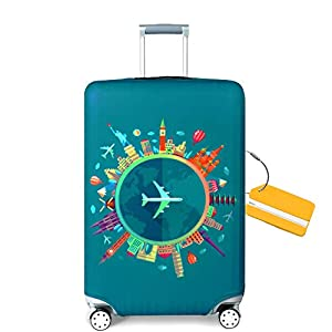OrgaWise Luggage Cover con Cremallera, Suave de Anti-Polvo, Elástico Cabe 22-28 Pulgadas Funda Maleta (M, L) (Viaje, XL (29''-32'' Maleta))