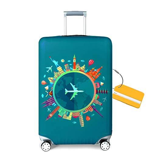 OrgaWise Travel Luggage Cover Elastic Suitcase Trolley Protector Cover for 22-28 Inch Luggage (Send one Luggage tag Free) (M, Green-Plane)