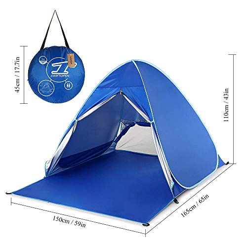 shunlidas Outdoor Camping Tent Awning Automatic Instant Pop Up Beach Tent Lightweight UV Protection Sun Shelter Cabana-Royal Blue
