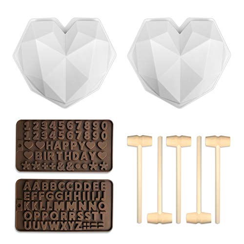 2 Pcs Heart Shaped Silicone Chocolate Mold, Cake Mousse Dessert Non-Sticky Mold Trays with 5 Pcs Mini Hammers and Letters Numbers Molds for Home Kitchen DIY Baking Tools