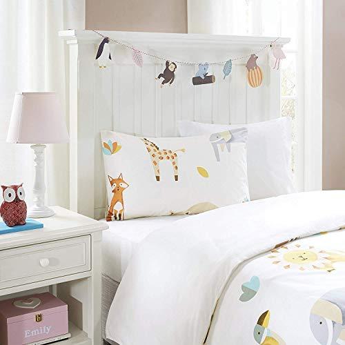 SCM Baby Bettwäsche 100x135cm Tiere Elefanten 2-teilig Bettbezug Kopfkissenbezug 40x60cm Mädchen Jugendliche Animal Zoo Off White Grau