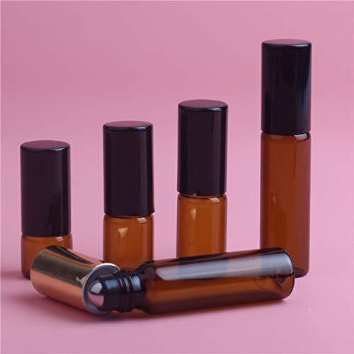 TOSISZ 1Ml 2Ml 3Ml 5Ml Amber Roll On Roller Bottle para Aceites Esenciales Botella De Perfume Recargable Envases De Desodorante con Tapa Dorada-5Ml, Tapa Negra, Vidrio
