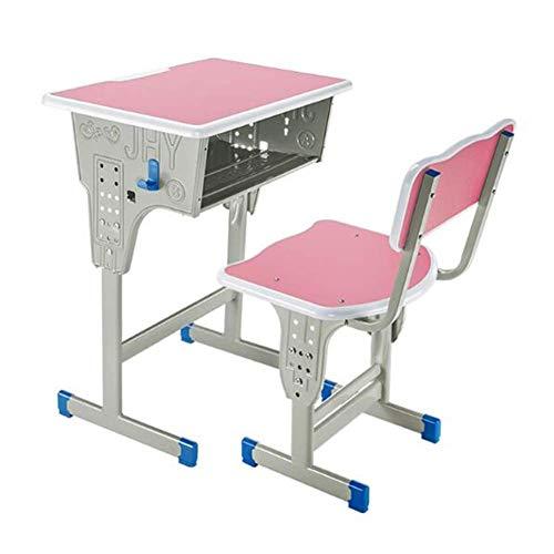 N/Z Equipo Diario Mesas Juego de sillas Altura Ajustable Estructura de Acero Mobiliario Escolar Estudio de Estudiantes Escritorio de Escritura Aula Escritorios Abiertos Delanteros Rosa