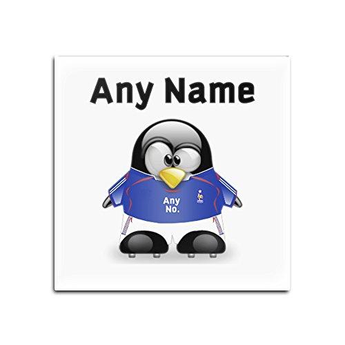 Juego de 4 posavasos cuadrados de cristal de Francia, diseño del equipo de fútbol de pingüino, color de diseño del equipo de fútbol de Pingüino, número único, kit de camiseta del equipo del FC