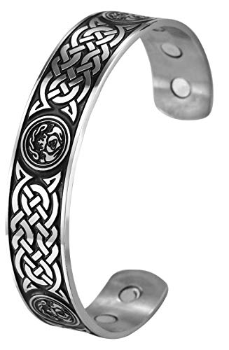 VASSAGO Stainless Steel Irish Celtic Knot Cuff Bangle Viking Engraving Magnetic Health Care Wicca Bracelets for Men and Women (Style 2)